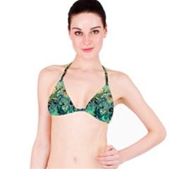 Fractal Batik Art Teal Turquoise Salmon Bikini Top by EDDArt
