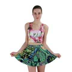 Fractal Batik Art Teal Turquoise Salmon Mini Skirt by EDDArt
