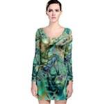 Fractal Batik Art Teal Turquoise Salmon Long Sleeve Bodycon Dress