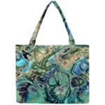 Fractal Batik Art Teal Turquoise Salmon Mini Tote Bag