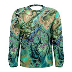 Fractal Batik Art Teal Turquoise Salmon Men s Long Sleeve Tee by EDDArt