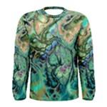 Fractal Batik Art Teal Turquoise Salmon Men s Long Sleeve Tee