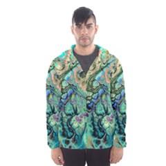Fractal Batik Art Teal Turquoise Salmon Hooded Wind Breaker (men) by EDDArt