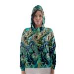 Fractal Batik Art Teal Turquoise Salmon Hooded Wind Breaker (Women)