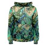 Fractal Batik Art Teal Turquoise Salmon Women s Pullover Hoodie