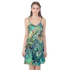 Fractal Batik Art Teal Turquoise Salmon Camis Nightgown by EDDArt