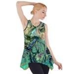 Fractal Batik Art Teal Turquoise Salmon Side Drop Tank Tunic