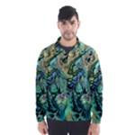 Fractal Batik Art Teal Turquoise Salmon Wind Breaker (Men)