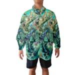 Fractal Batik Art Teal Turquoise Salmon Wind Breaker (Kids)