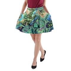 Fractal Batik Art Teal Turquoise Salmon A Line Pocket Skirt by EDDArt