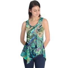 Fractal Batik Art Teal Turquoise Salmon Sleeveless Tunic by EDDArt