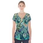 Fractal Batik Art Teal Turquoise Salmon Short Sleeve Front Detail Top