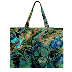 Fractal Batik Art Teal Turquoise Salmon Medium Zipper Tote Bag by EDDArt