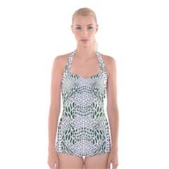 GREEN SNAKE TEXTURE Boyleg Halter Swimsuit  by LetsDanceHaveFun