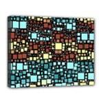 Block On Block, Aqua Canvas 14  x 11