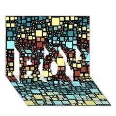 Block On Block, Aqua Boy 3d Greeting Card (7x5) by MoreColorsinLife
