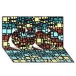 Block On Block, Aqua Twin Hearts 3D Greeting Card (8x4)