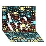 Block On Block, Aqua LOVE 3D Greeting Card (7x5)