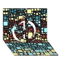 Block On Block, Aqua Peace Sign 3d Greeting Card (7x5) by MoreColorsinLife