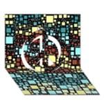 Block On Block, Aqua Peace Sign 3D Greeting Card (7x5)