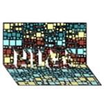 Block On Block, Aqua HUGS 3D Greeting Card (8x4)