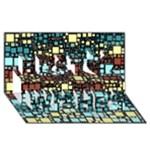 Block On Block, Aqua Best Wish 3D Greeting Card (8x4)
