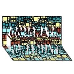 Block On Block, Aqua Congrats Graduate 3d Greeting Card (8x4) by MoreColorsinLife