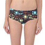 Block On Block, Aqua Mid-Waist Bikini Bottoms