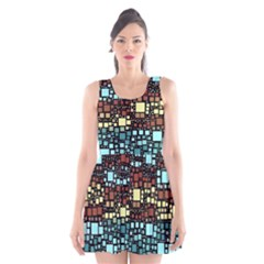 Block On Block, Aqua Scoop Neck Skater Dress by MoreColorsinLife
