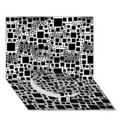 Block On Block, B&w Circle Bottom 3d Greeting Card (7x5) by MoreColorsinLife