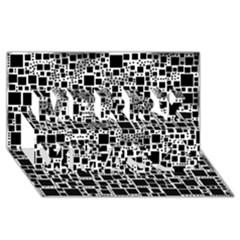 Block On Block, B&w Merry Xmas 3d Greeting Card (8x4) by MoreColorsinLife