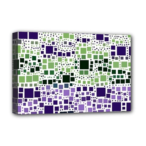 Block On Block, Purple Deluxe Canvas 18  X 12   by MoreColorsinLife