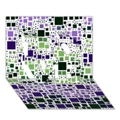 Block On Block, Purple Love 3d Greeting Card (7x5) by MoreColorsinLife