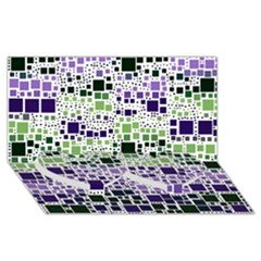 Block On Block, Purple Twin Heart Bottom 3d Greeting Card (8x4) by MoreColorsinLife