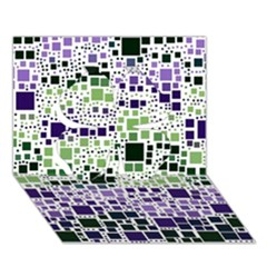 Block On Block, Purple Clover 3d Greeting Card (7x5) by MoreColorsinLife