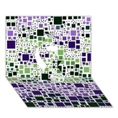 Block On Block, Purple Ribbon 3d Greeting Card (7x5) by MoreColorsinLife