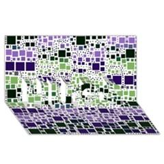 Block On Block, Purple Hugs 3d Greeting Card (8x4) by MoreColorsinLife