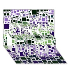 Block On Block, Purple Get Well 3d Greeting Card (7x5) by MoreColorsinLife
