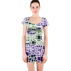 Block On Block, Purple Short Sleeve Bodycon Dress by MoreColorsinLife