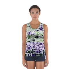 Block On Block, Purple Women s Sport Tank Top  by MoreColorsinLife