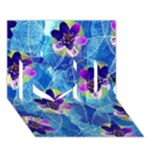 Purple Flowers I Love You 3D Greeting Card (7x5)
