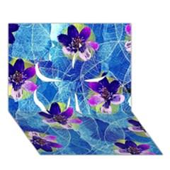 Purple Flowers Clover 3d Greeting Card (7x5) by DanaeStudio