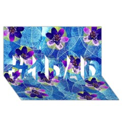 Purple Flowers #1 Dad 3d Greeting Card (8x4)