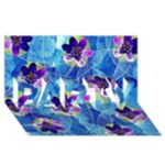 Purple Flowers PARTY 3D Greeting Card (8x4)