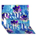 Purple Flowers You Did It 3D Greeting Card (7x5)