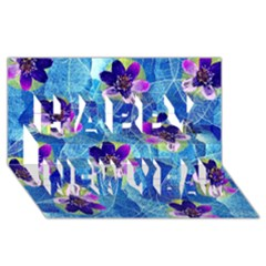 Purple Flowers Happy New Year 3d Greeting Card (8x4) by DanaeStudio