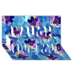 Purple Flowers Laugh Live Love 3D Greeting Card (8x4)