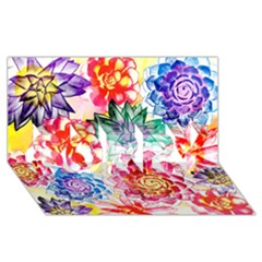 Colorful Succulents Sorry 3d Greeting Card (8x4) by DanaeStudio