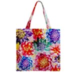 Colorful Succulents Zipper Grocery Tote Bag