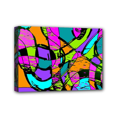 Abstract Sketch Art Squiggly Loops Multicolored Mini Canvas 7  X 5  by EDDArt